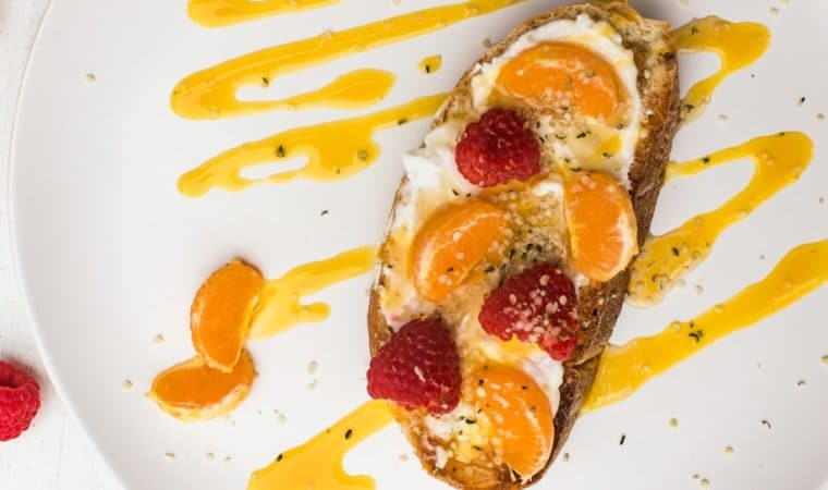 Clementine Toast with Yogurt Spread, Clementines, Raspberries & Mango