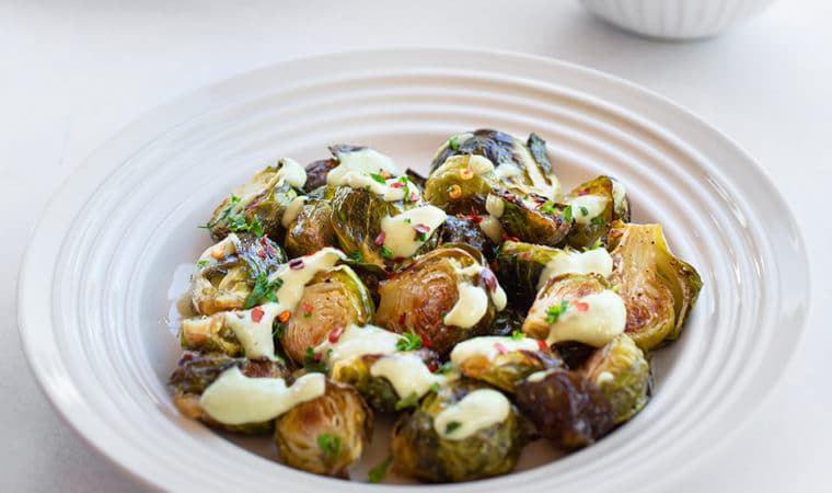 Roasted Brussels Sprouts with Creamy White Bean Dressing