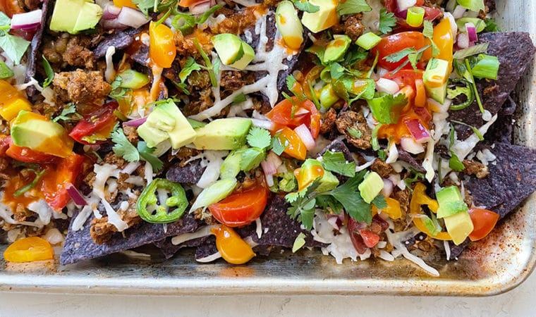 Loaded Vegan Nachos with Queso Fresco & Jack